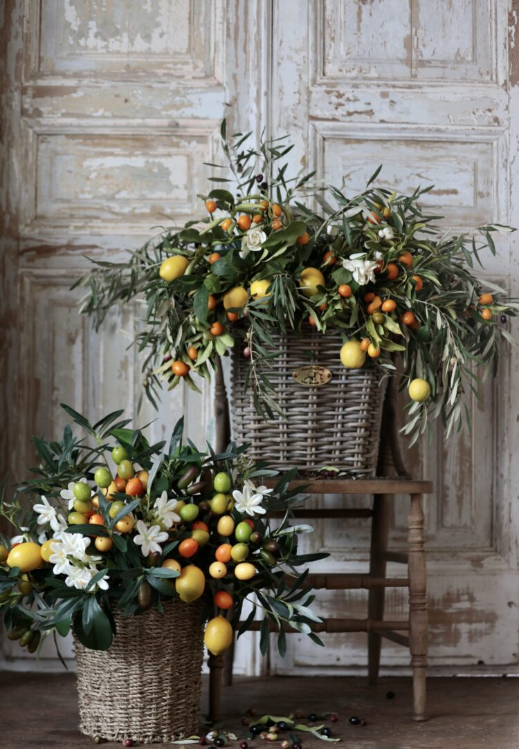 olive baskets by French Country Cottage