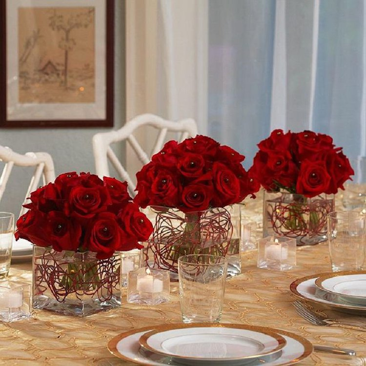 set of three rose bouquets