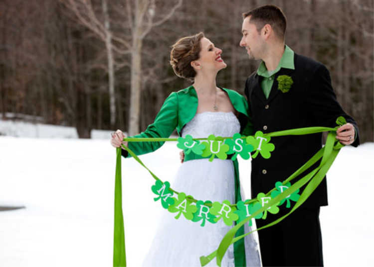 Backyard Wedding with Shamrocks and Leprechauns