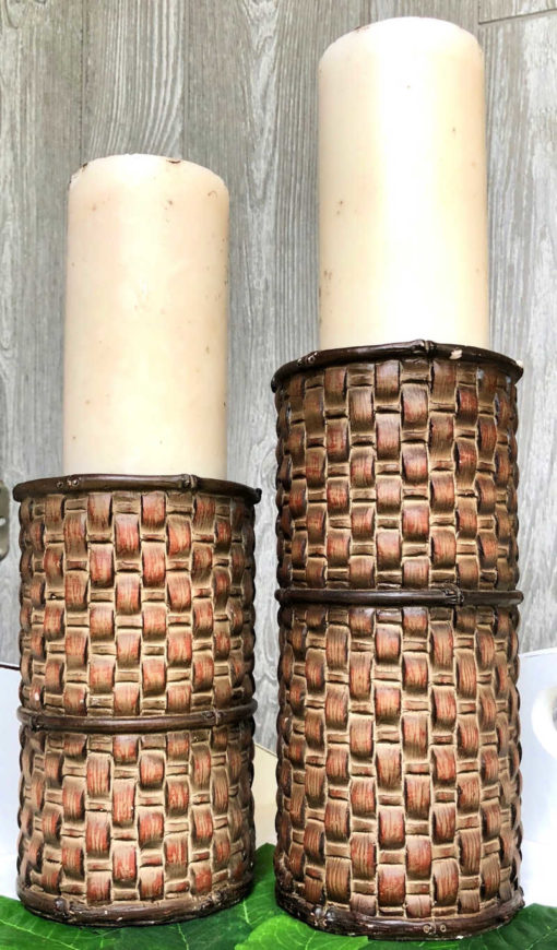 set of 2 ceramic woven candlesticks