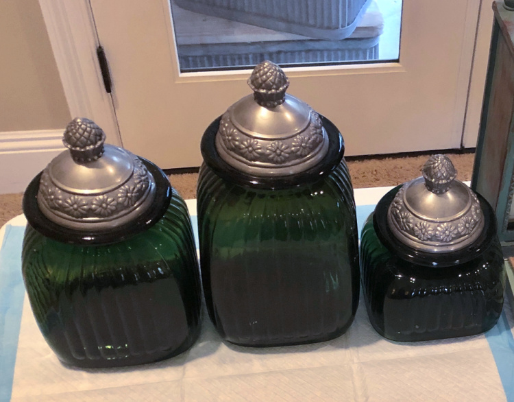 set of 3 green canisters