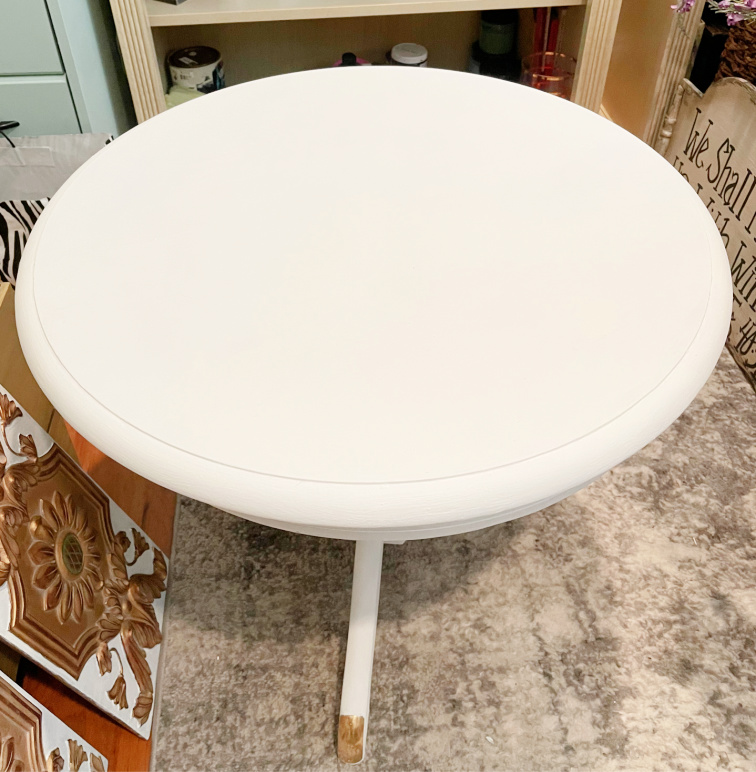 small round painted side table
