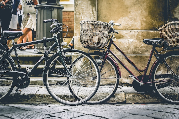 baskets on bicycles